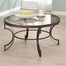 Coaster Fairhaven Round Glass Top Coffee Table in Bronze