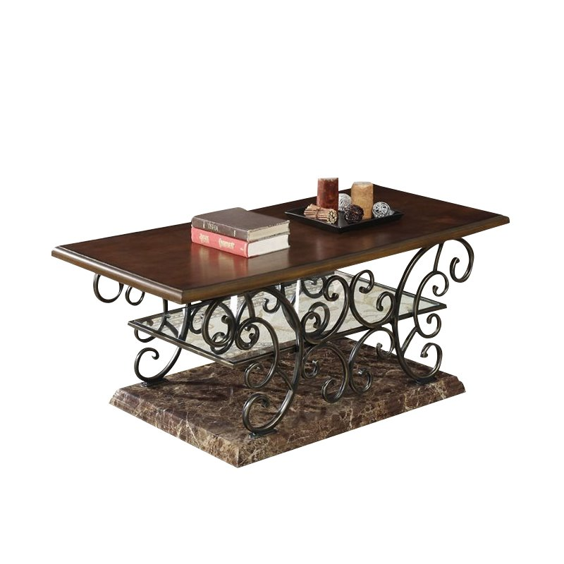 Coaster Coffee Table In Merlot And Gold Brushed Bronze 705118