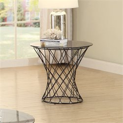 Coaster Round End Table in Black