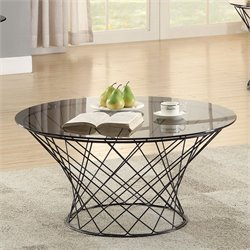Coaster Round Glass Top Coffee Table in Black