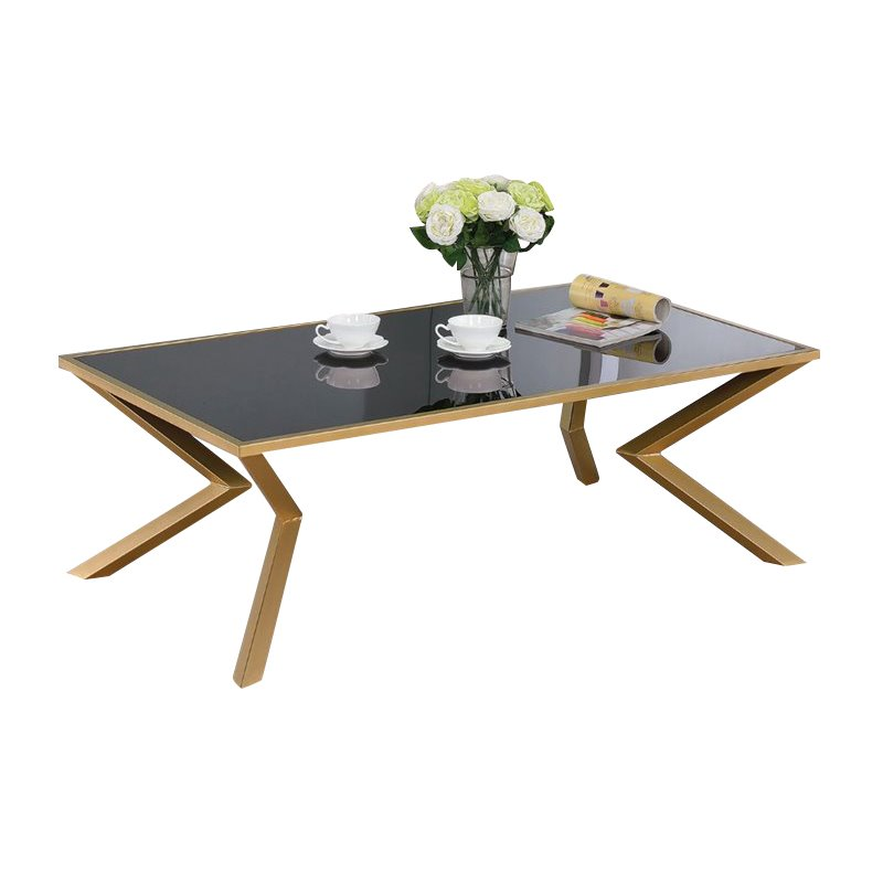 Coaster Glass Top Coffee Table In Brushed Brass 705188
