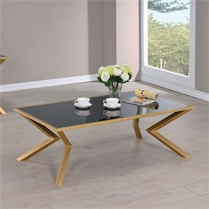 Coaster Glass Top Coffee Table in Brushed Brass