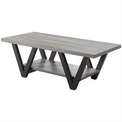 Coaster Coffee Table in Antique Gray and Black