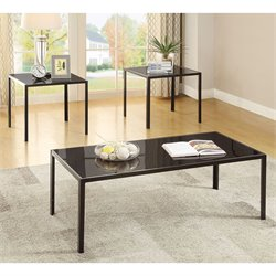 Coaster 3 Piece Coffee Table Set in Antique Pewter