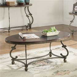 Coaster Oval Coffee Table in Cherry Brown and Antique Pewter
