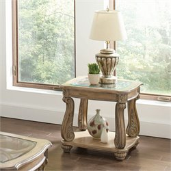 Coaster 1 Shelf End Table in Antique Linen