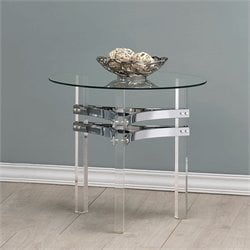 Coaster Round Glass Top End Table in Chrome