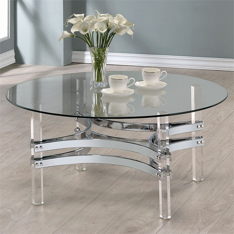 Coaster Round Glass Top Coffee Table In Chrome 720708