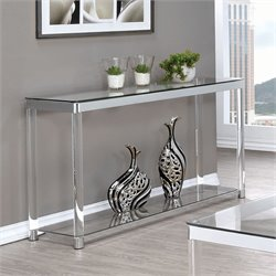 Coaster 1 Shelf Glass Top Console Table in Chrome and Clear Acrylic