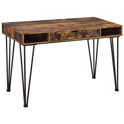 Coaster Writing Desk in Antique Nutmeg and Dark Bronze
