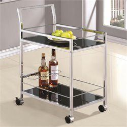 Coaster Serving Cart in Black and Chrome