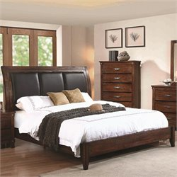 MER-1220 Coaster Noble Upholstered Panel Bed in Rustic Oak