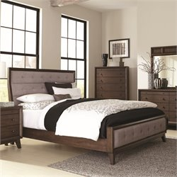 MER-1220 Coaster Bingham Upholstered Panel Bed in Brown Oak