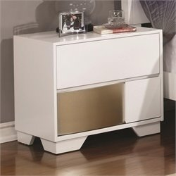 Coaster Havering Nightstand in Blanco and Sterling