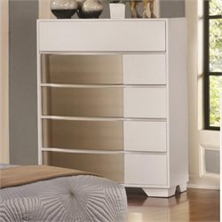 Coaster Havering 5 Drawer Chest in Blanco and Sterling