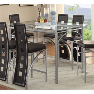 Coaster Glass Top Counter Height Dining Table in Chrome