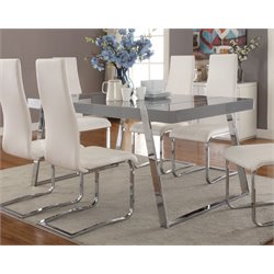 Coaster Dining Table in Glossy Gray