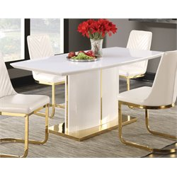 Coaster Dining Table in Glossy White