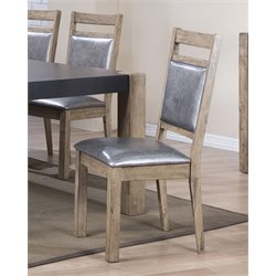 Coaster Dining Side Chair in Silver and Antique Natural