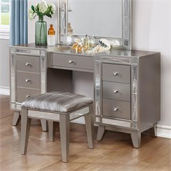 Coaster 2 Piece Mirrored Vanity Set in Metallic Mercury