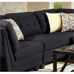 Coaster Keaton Sectional Tufted Armless Chair in Midnight Blue