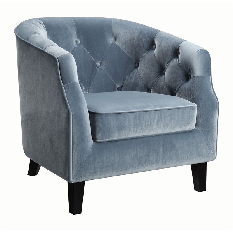 Coaster Velvet Upholstered Tufted Accent Chair In Dusty