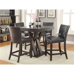 Coaster 5 Piece Counter Height Dining Set in Cappuccino