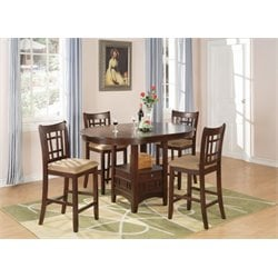 Coaster Lavon 5 Piece Counter Height Dining Set in Warm Brown
