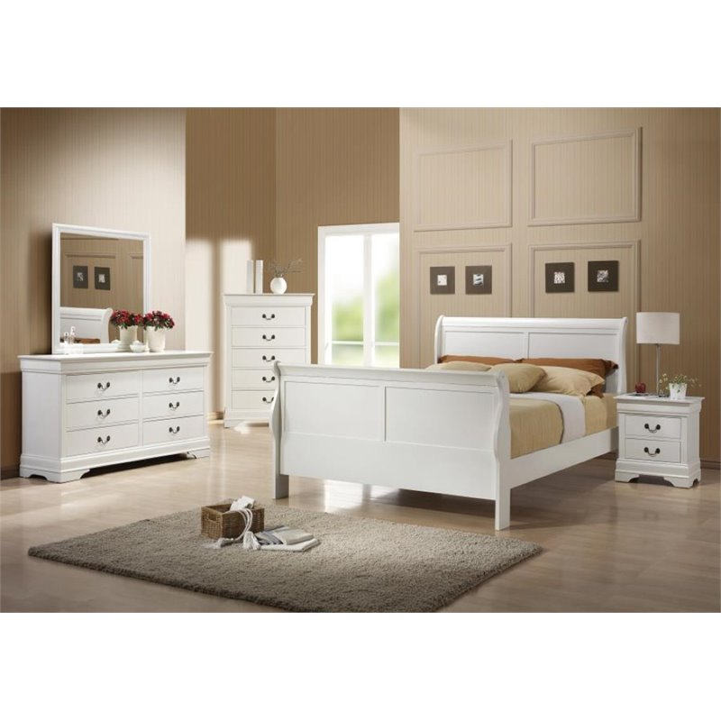Coaster Louis Philippe 5 Piece Full Sleigh Bedroom Set in White