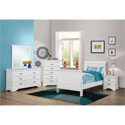 Coaster Louis Philippe 4 Piece Sleigh Bedroom Set in White