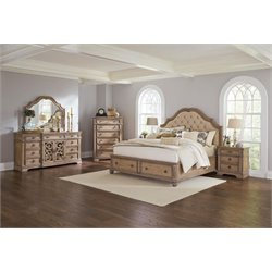 Coaster Ilana 4 Piece Storage Bedroom Set in Cream-A