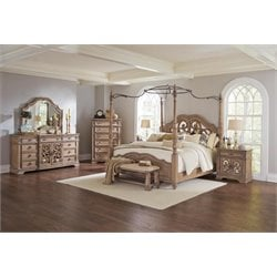 Coaster Ilana 4 Piece Mirrored Canopy Bedroom Set in Cream-B