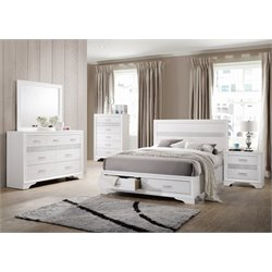 Coaster Miranda 4 Piece Storage Panel Bedroom Set in White