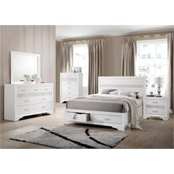 Coaster Miranda 5 Piece Storage Panel Bedroom Set in White