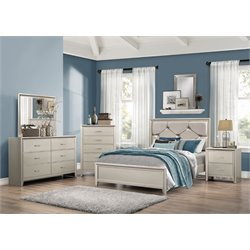 Coaster Lana 4 Piece Upholstered Bedroom Set in Silver