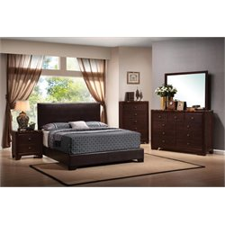 Coaster Conner 4 Piece Faux Leather Queen Platform Bedroom Set