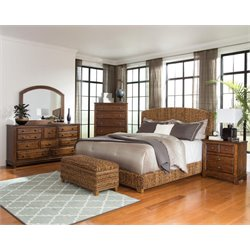 Coaster Laughton 4 Piece Banana Leaf Bedroom Set in Natural