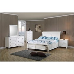 Coaster 5 Piece Storage Sleigh Bedroom Set in White-X