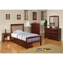 Coaster Parker Twin Slat Bedroom Set in Deep Dark Cappuccino