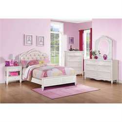 Coaster Caroline 4 Piece Diamond Tufted Bedroom Set in White