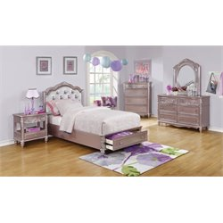Coaster Caroline 4 Piece Tufted Bedroom Set in Metallic Lilac