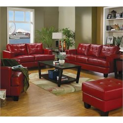 Coaster Samuel 2 Piece Contemporary Leather Sofa Set