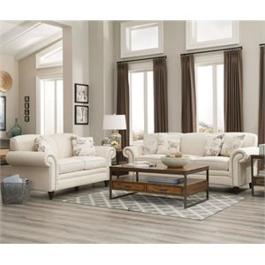Coaster Norah Antique Inspired Sofa Set in Oatmeal