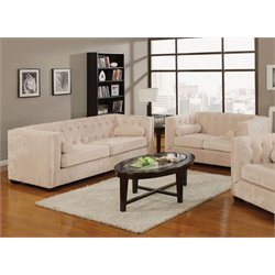 Coaster Alexis 2 Piece Microvelvet Chesterfield Sofa Set in Almond