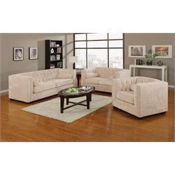 Coaster Alexis 3 Piece Microvelvet Chesterfield Sofa Set in Almond