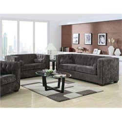 Coaster Alexis 2 Piece Microvelvet Chesterfield Sofa Set in Charcoal