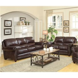 Coaster Lockhart Leather Sofa Set in Burgundy Brown