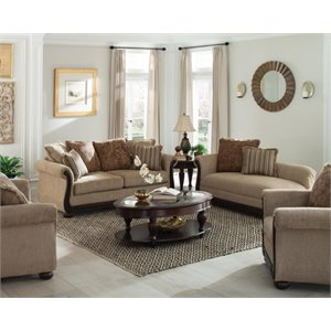 Coaster Beasley Traditional Sofa Set in Coffee and Cocoa-VV