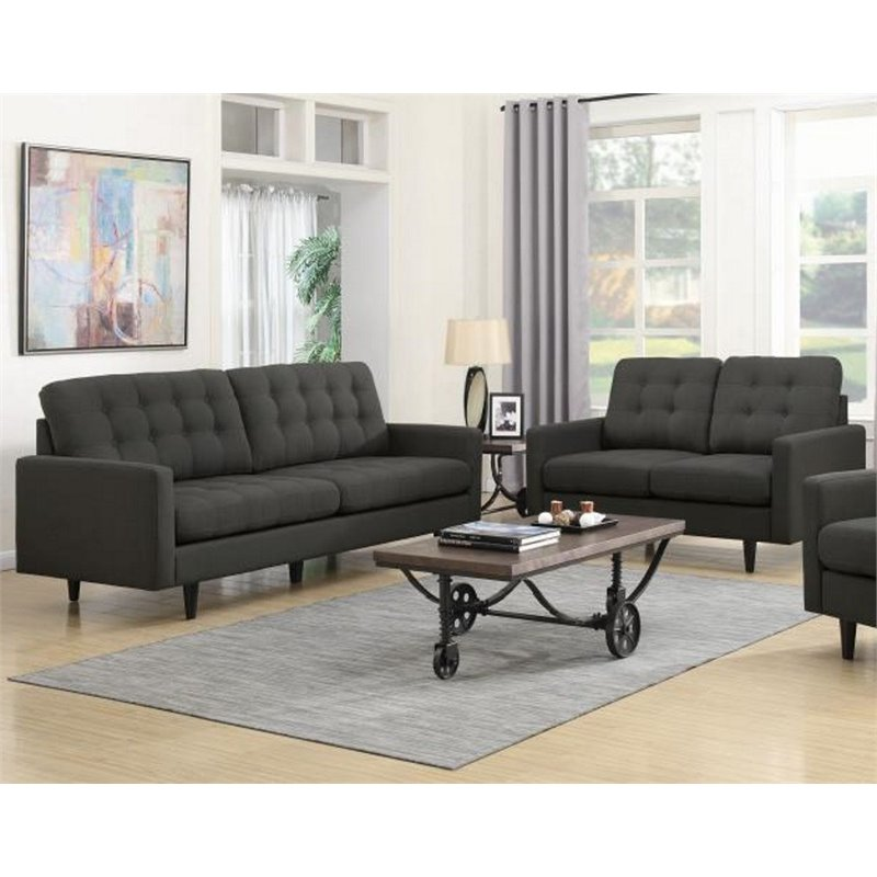 Coaster Kesson 2 Piece Modern Sofa Set In Charcoal