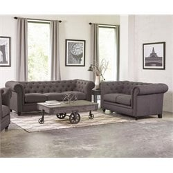 Coaster Roy Button Tufted Sofa Set in Gray